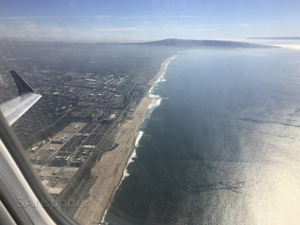 departing LAX over the ocean