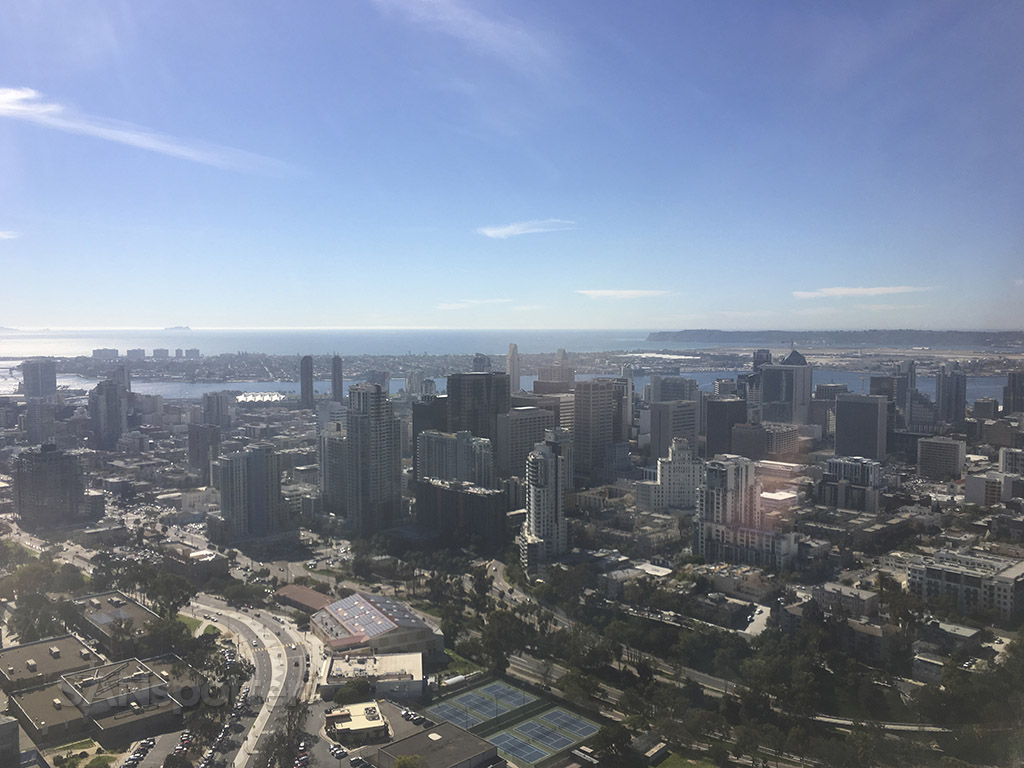 flying over downtown san diego SAN approach