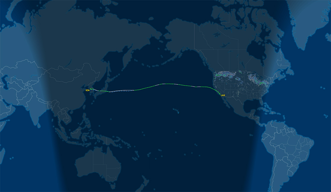 ICN to LAX route map