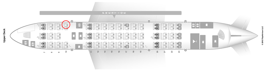 korean air a380 upper deck seat map