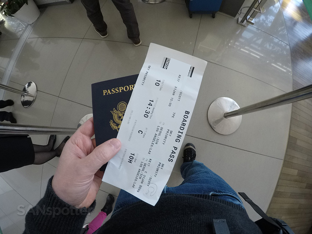 US passport boarding pass ICN airport