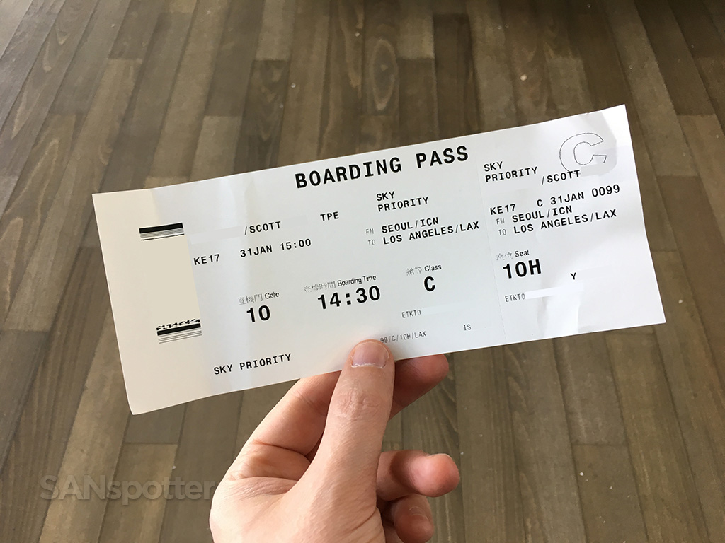 korean air prestige class boarding pass