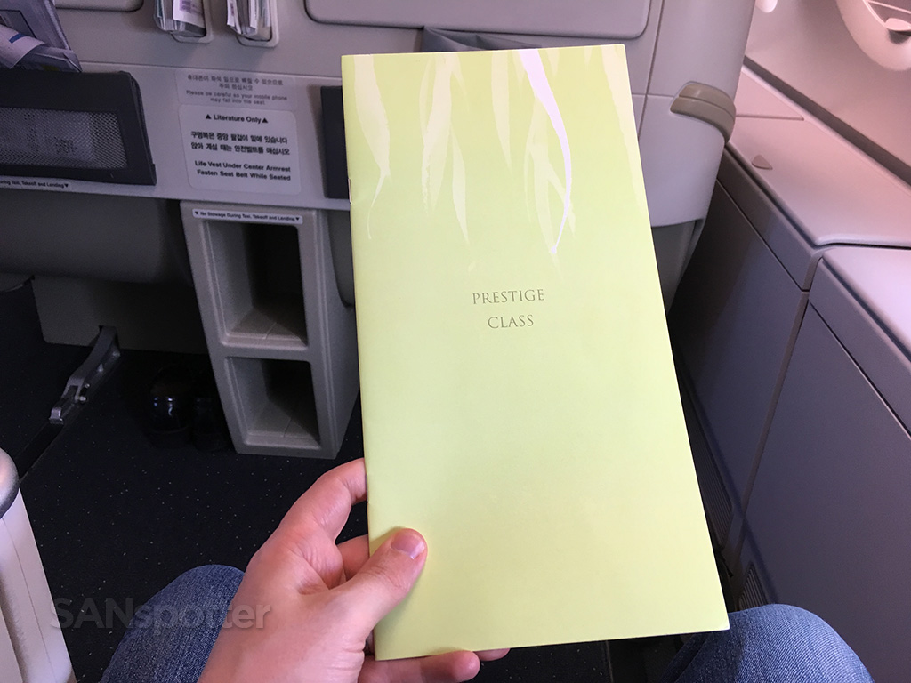Korean Air Prestige Class menu front cover