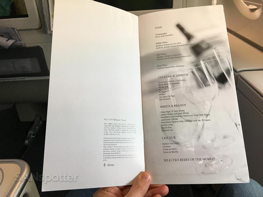 Korean Air Prestige Class drinks menu