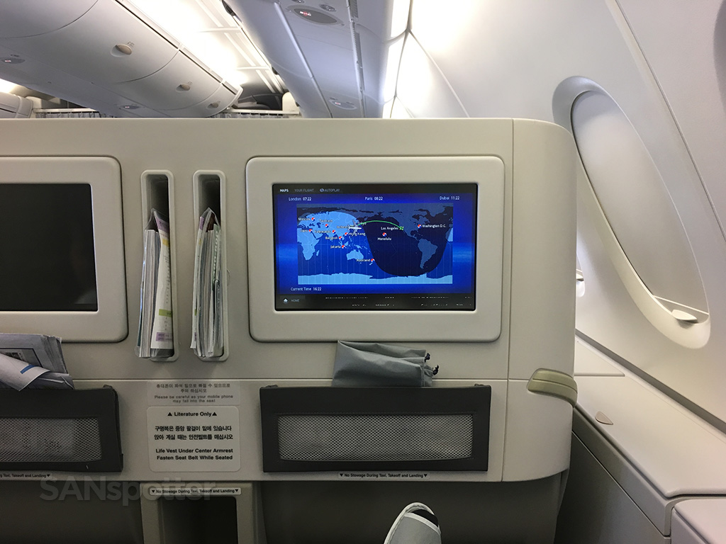 relaxing in korean air business class
