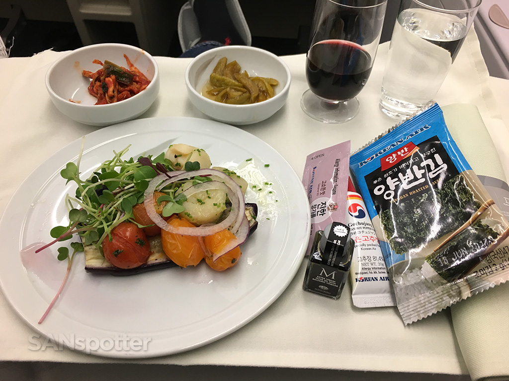 Korean Air Prestige Class dinner appetizer