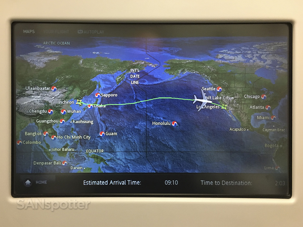 korean air ICN-LAX map