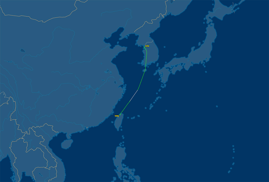 TPE to ICN route map