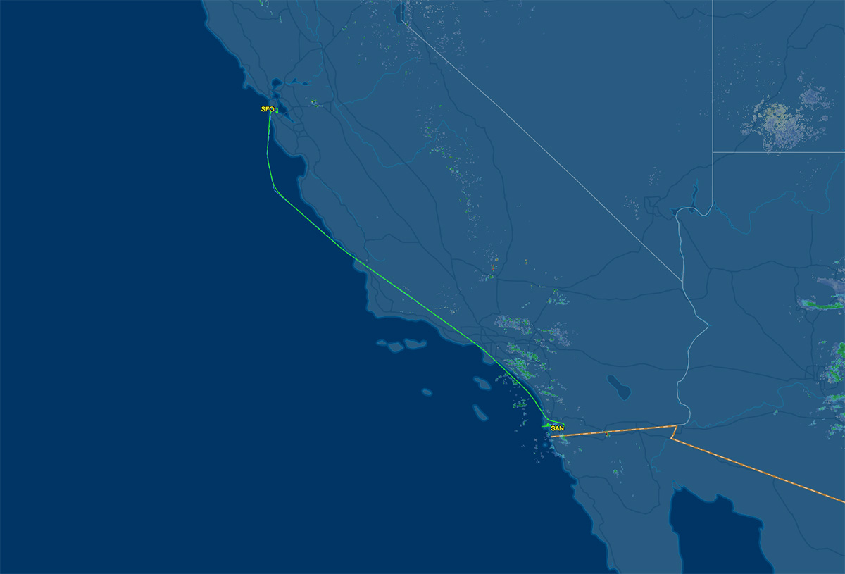 SFO to SAN flight map