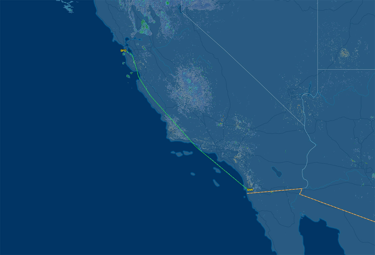 SAN to SFO route map