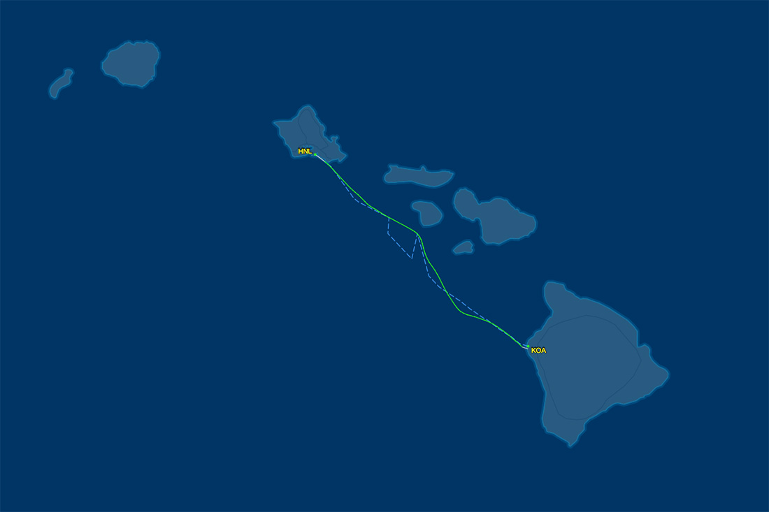 KOA to HNL route map