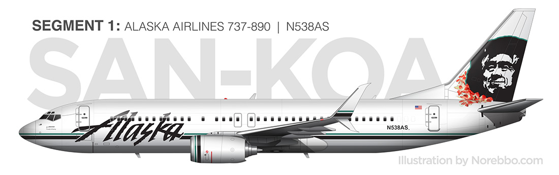 alaska airlines 737-800 side view illustration