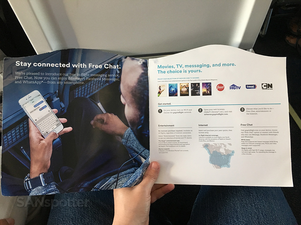 WiFi & Movies booklet interior alaska airlines