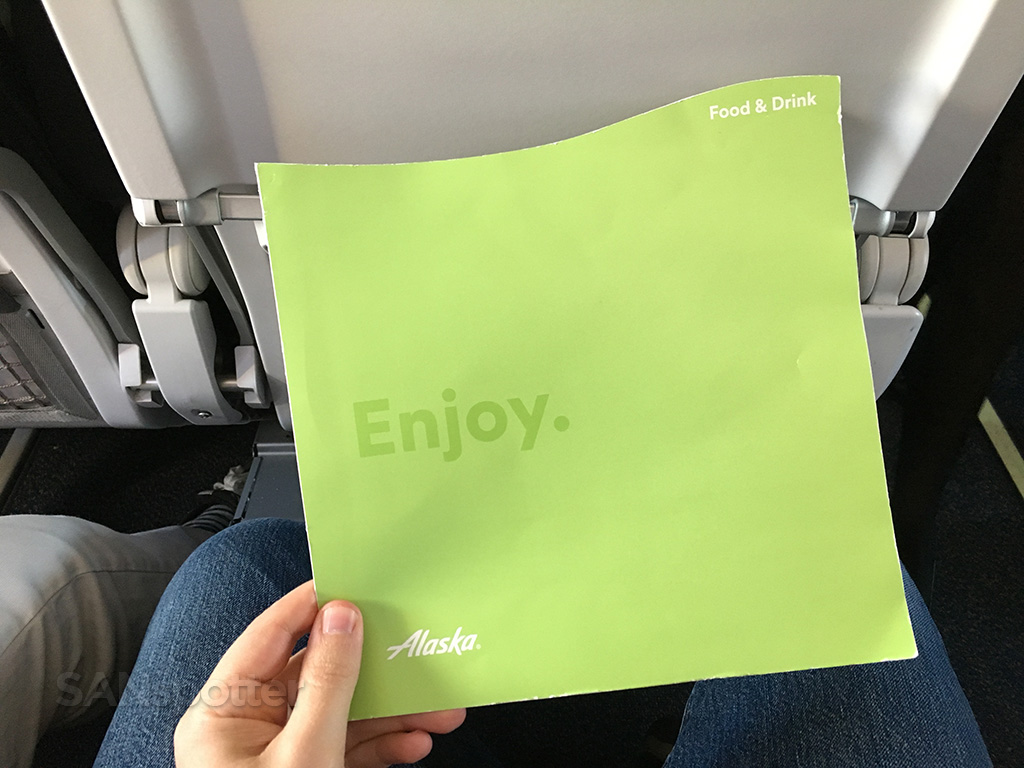 Alaska Airlines menu cover