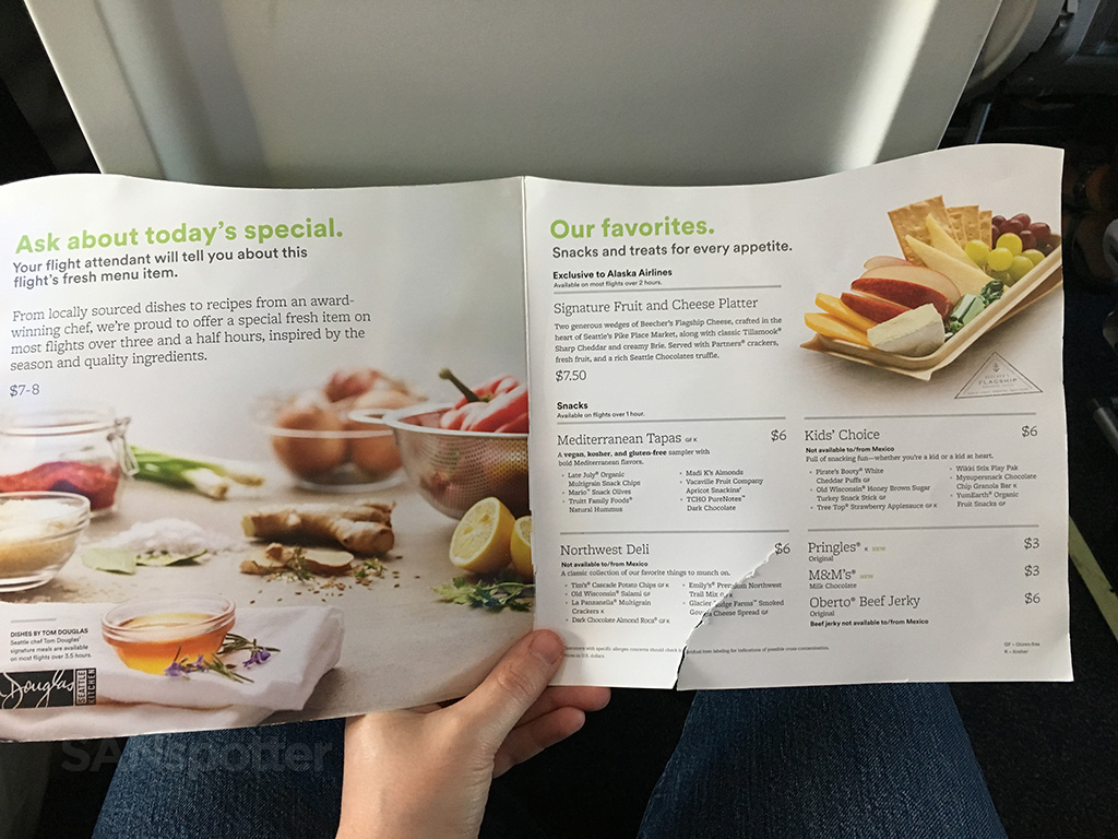 Alaska Airlines snack and drink menu