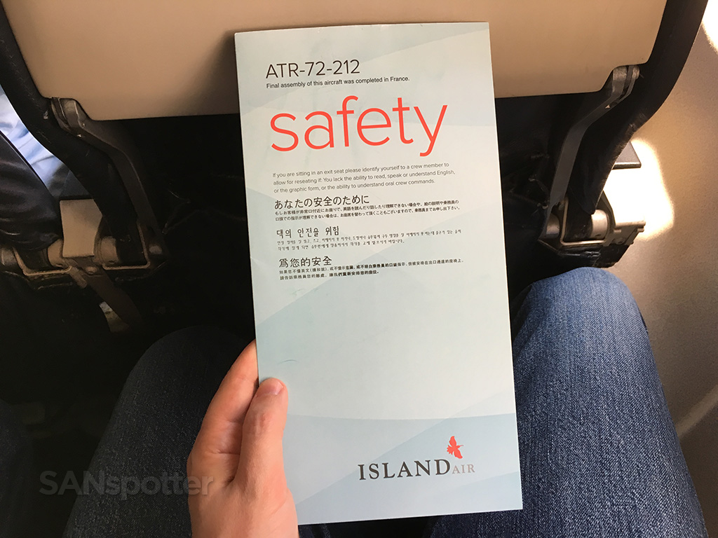 Island Air ATR 72 safety card
