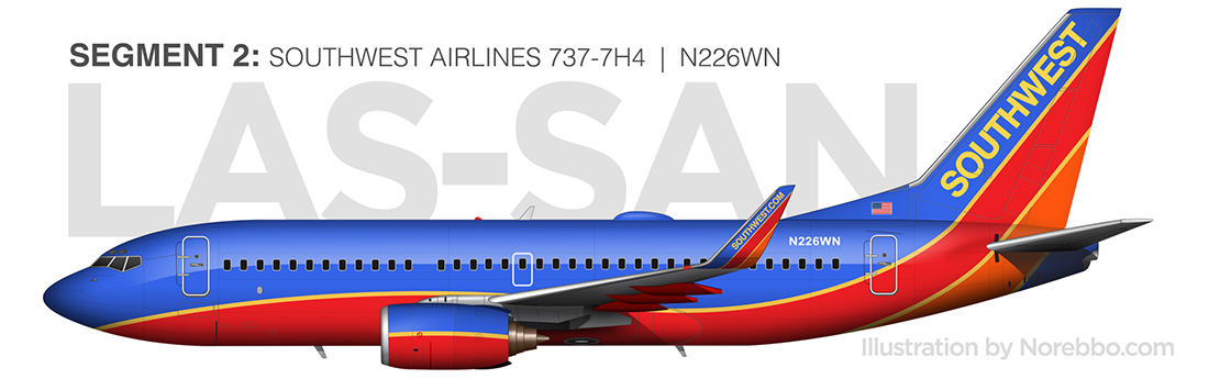 southwest airlines 737-700 side view by norebbo