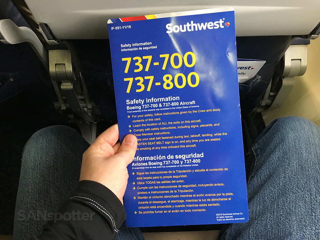 southwest airlines 737-700 737-800 safety card
