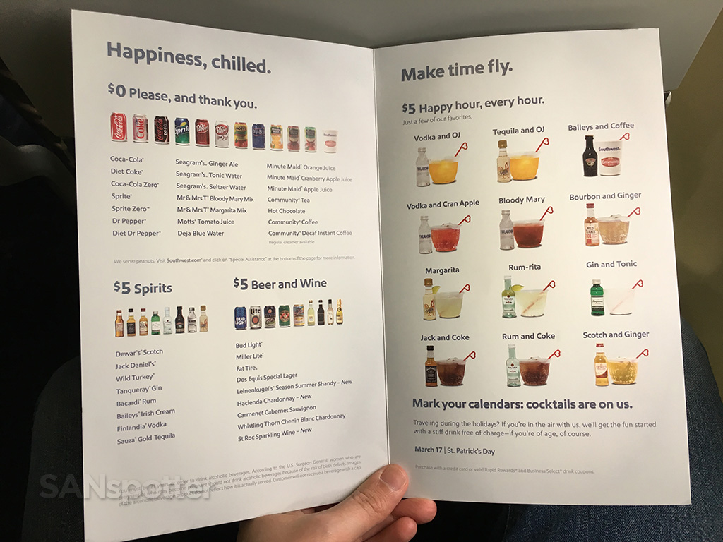 southwest airlines drink menu