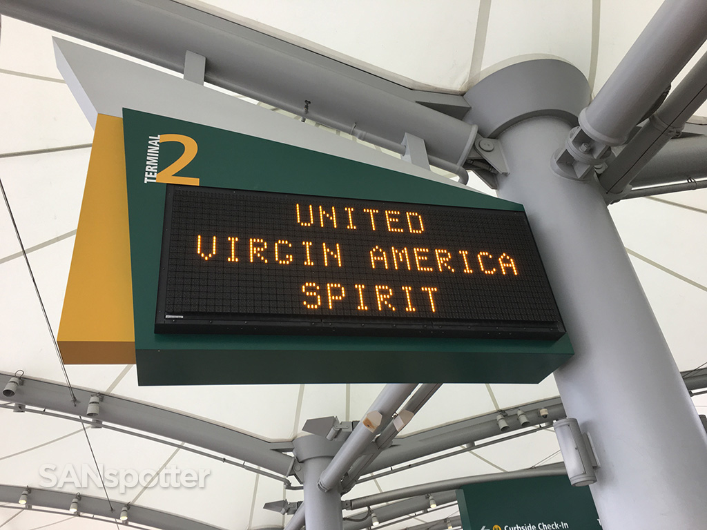 terminal 2 west SAN virgin america united spirit