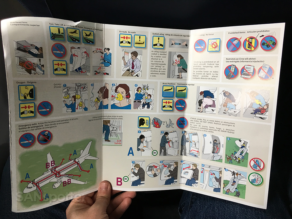Spirit Airlines A320 safety card interior