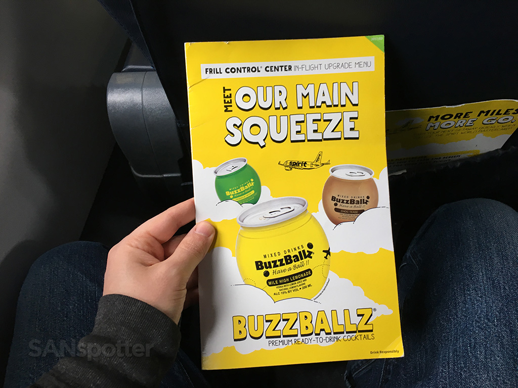 spirit airlines in flight menu cover