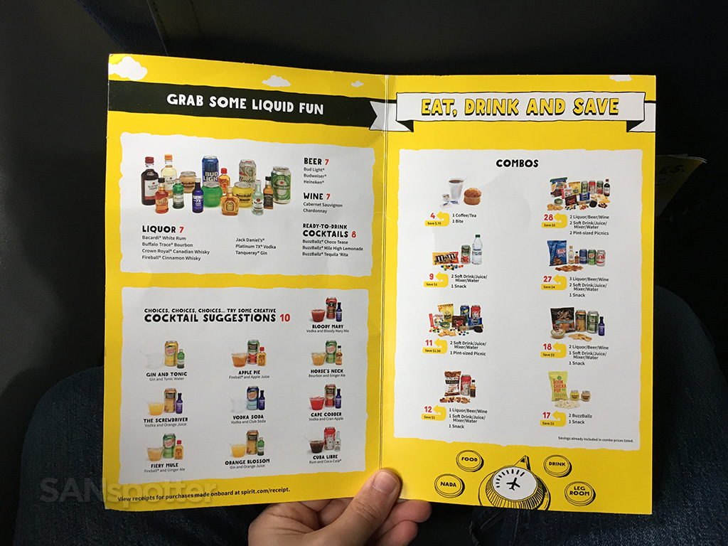 Spirit Airlines in flight menu inner cover