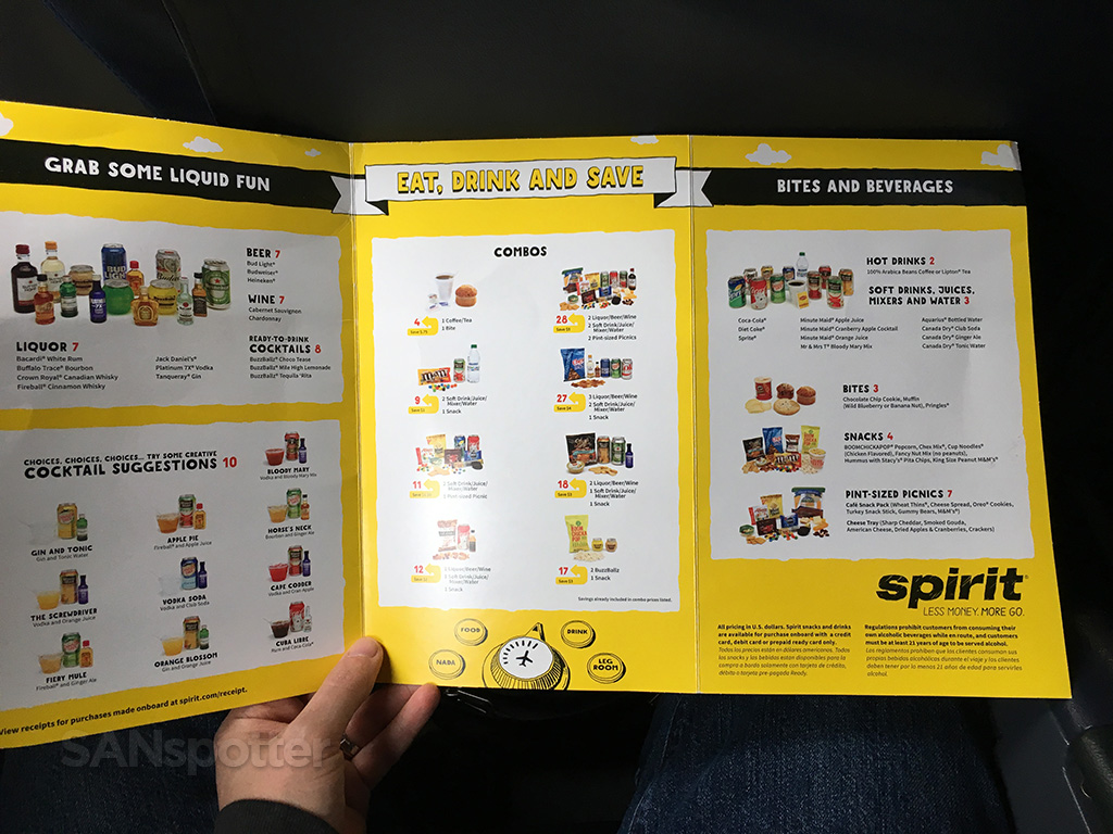 Spirit Airlines in flight menu full interior