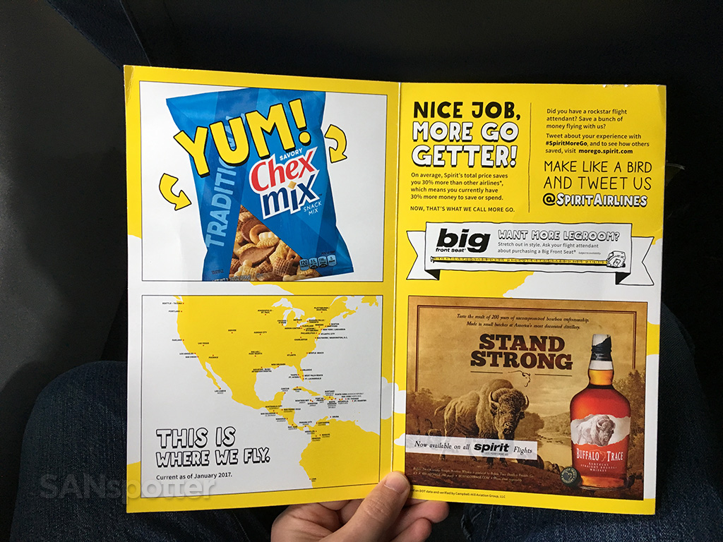 spirit airlines in flight menu creativity