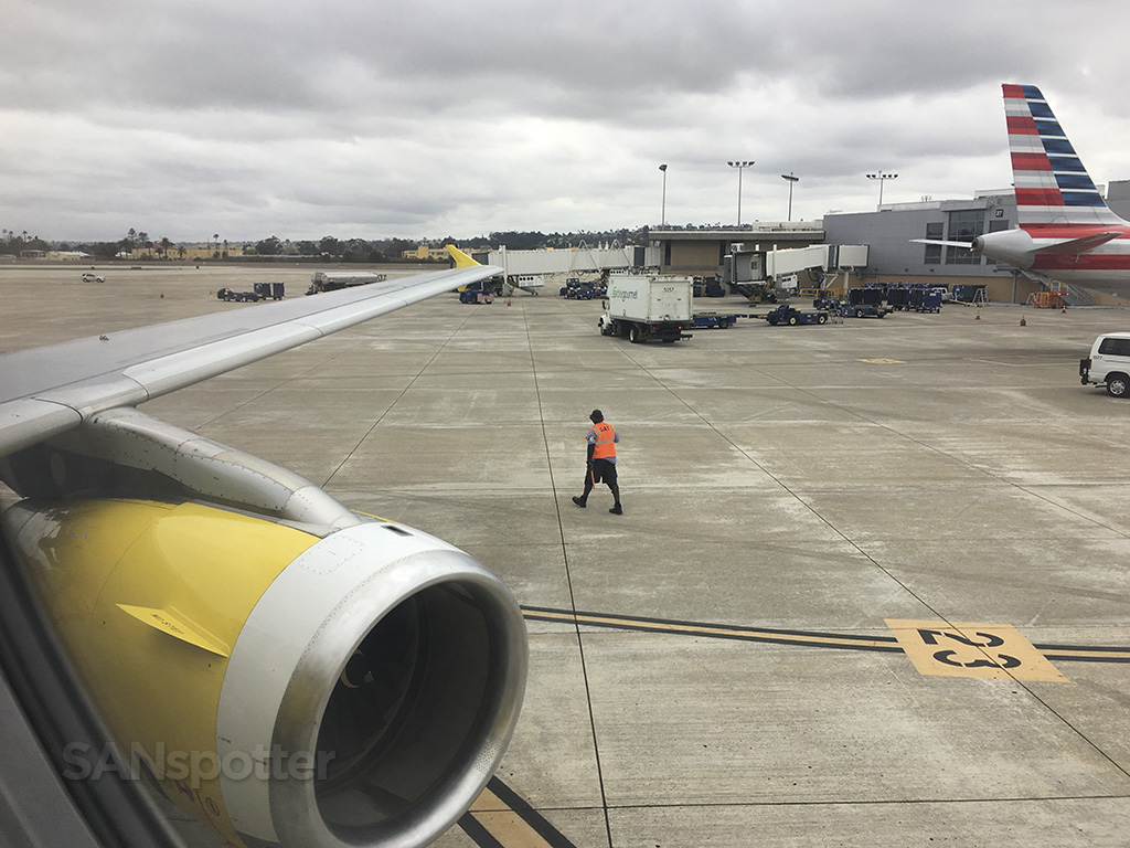 pushing back spirit airlines SAN
