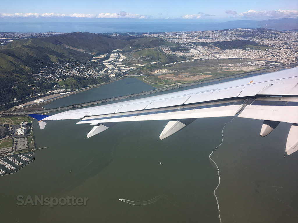 SFO airport departure over city