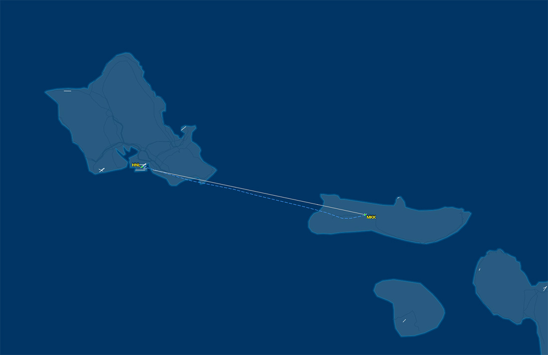HNL to MKK route map