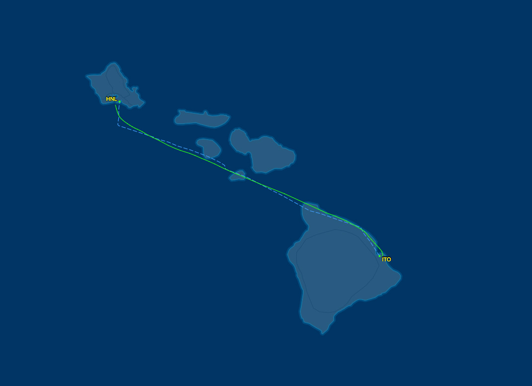 Air route from ITO to HNL