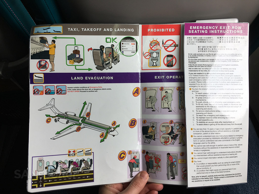 Hawaiian Airlines 717 safety card inner cover