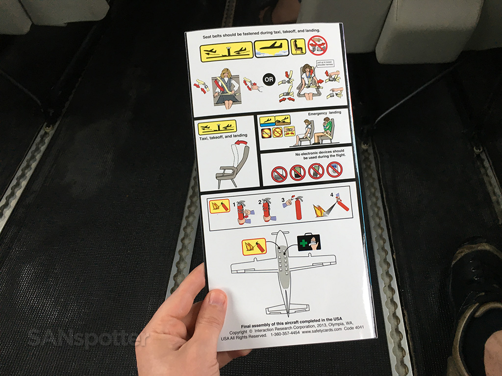 Mokulele Airlines Cessna 208 safety card back cover