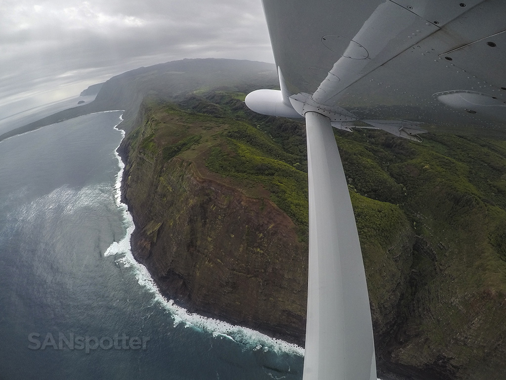 flying over molokai coast