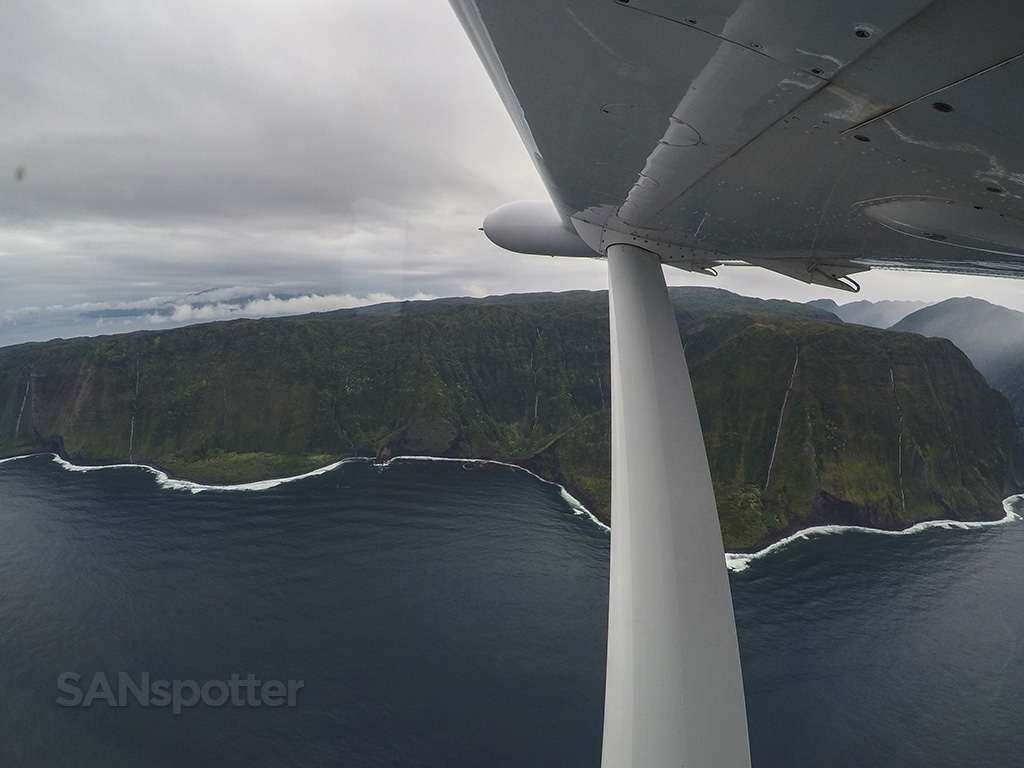 flying along molokai coast