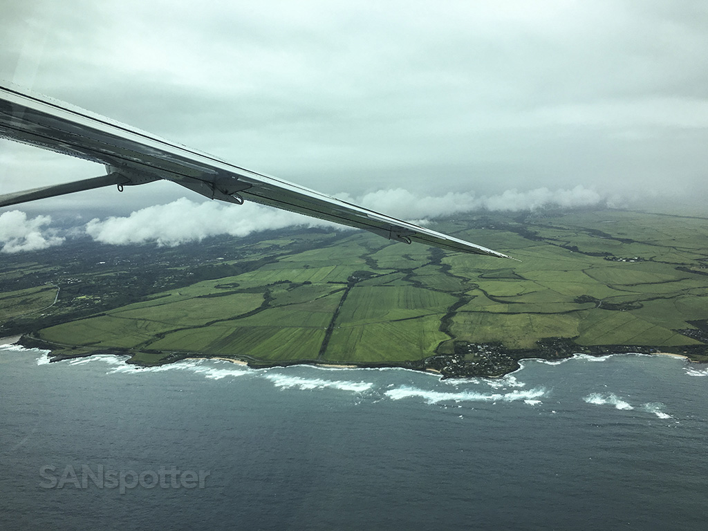 flying along maui coastline