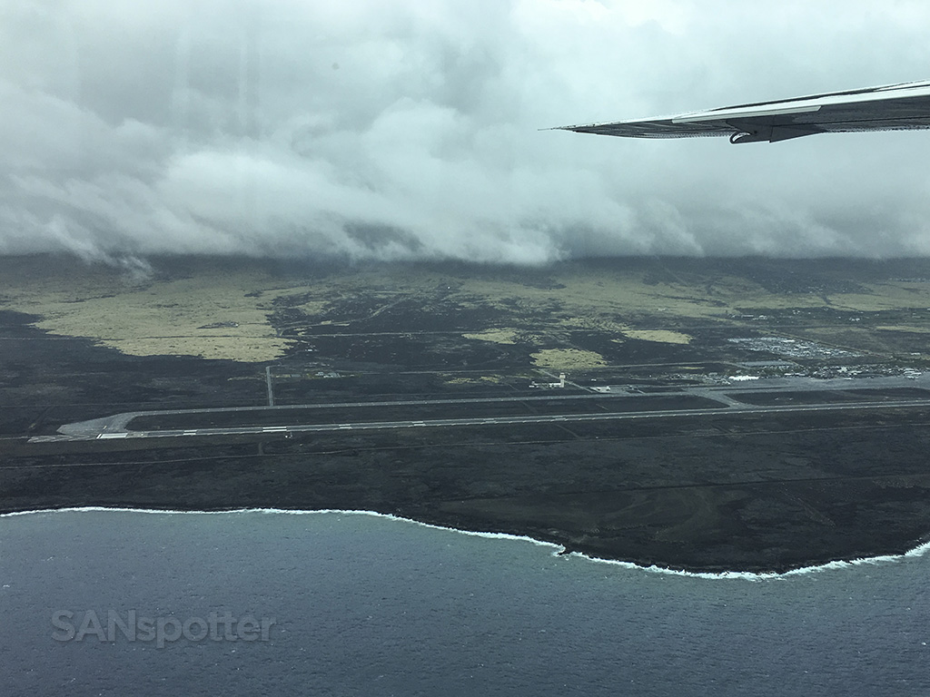flying over kona international airport