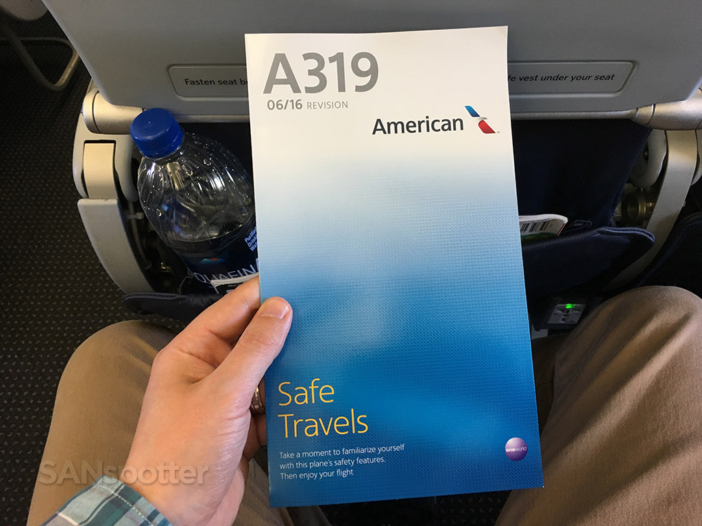 American Airlines A319 safety card front cover