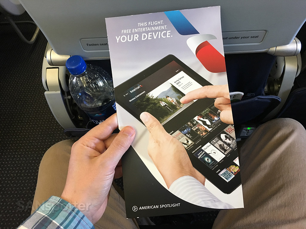 American Airlines in-flight entertainment menu