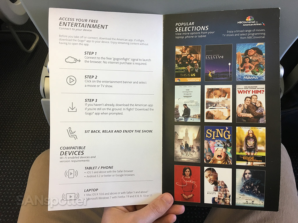 American Airlines streaming content menu