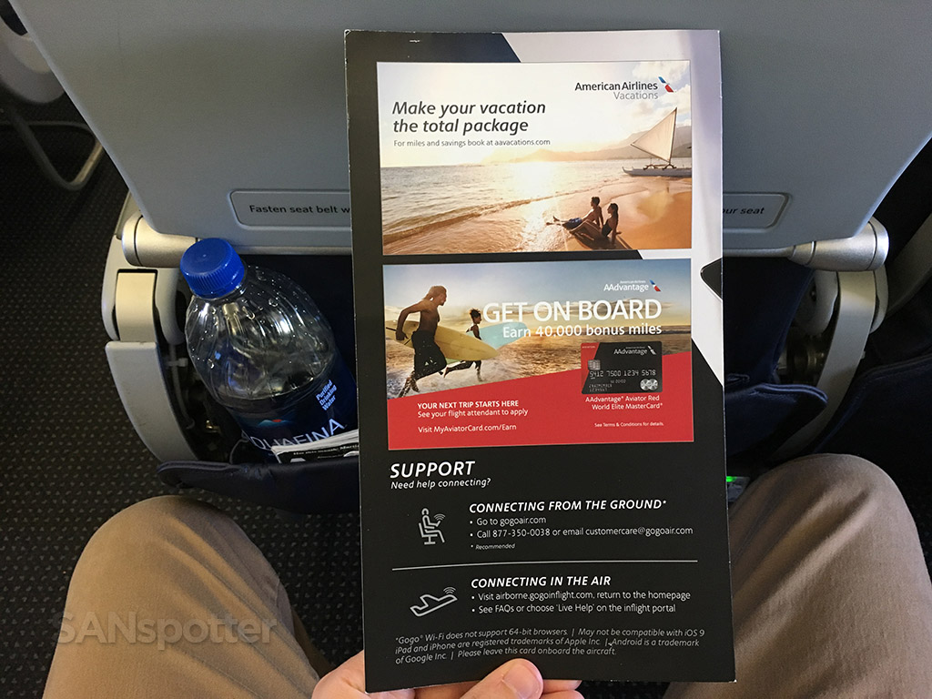 Rear cover of the American Airlines streaming content menu