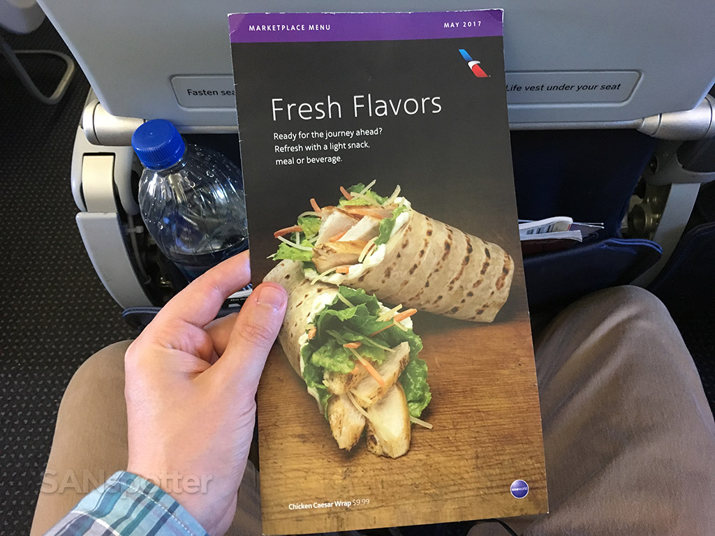 American Airlines in-flight menu