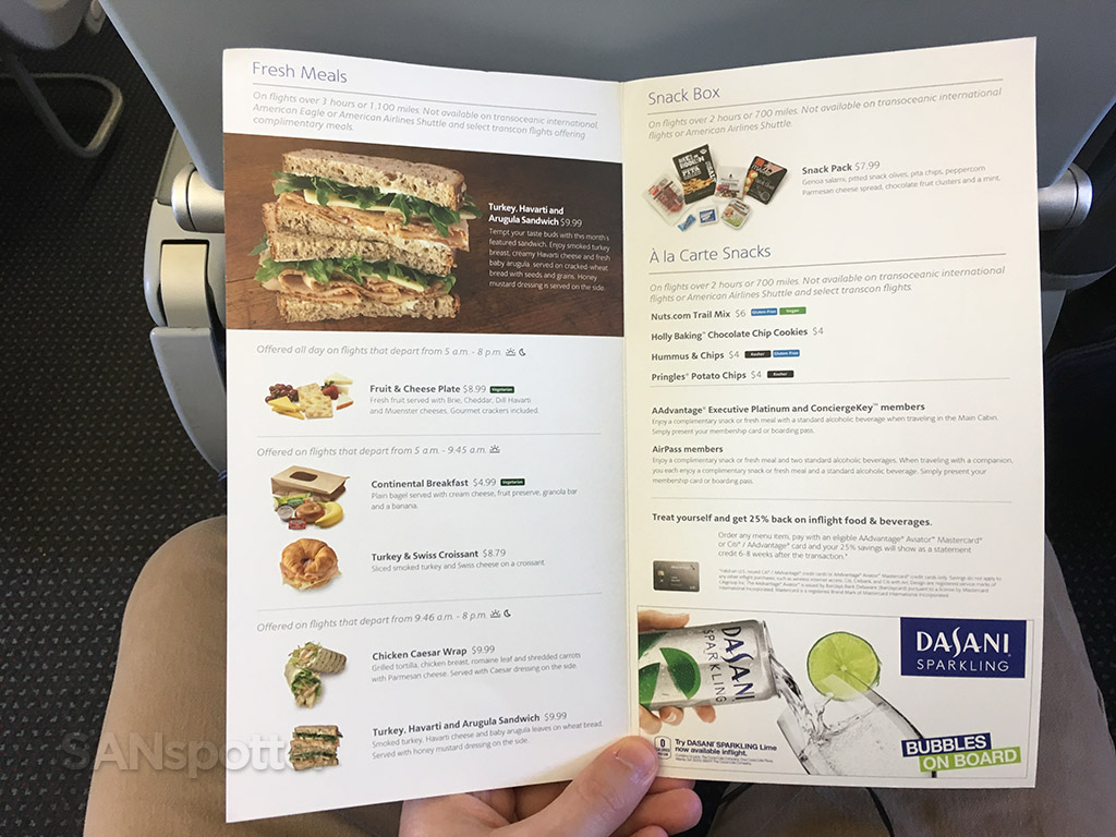 American airlines food for purchase menu