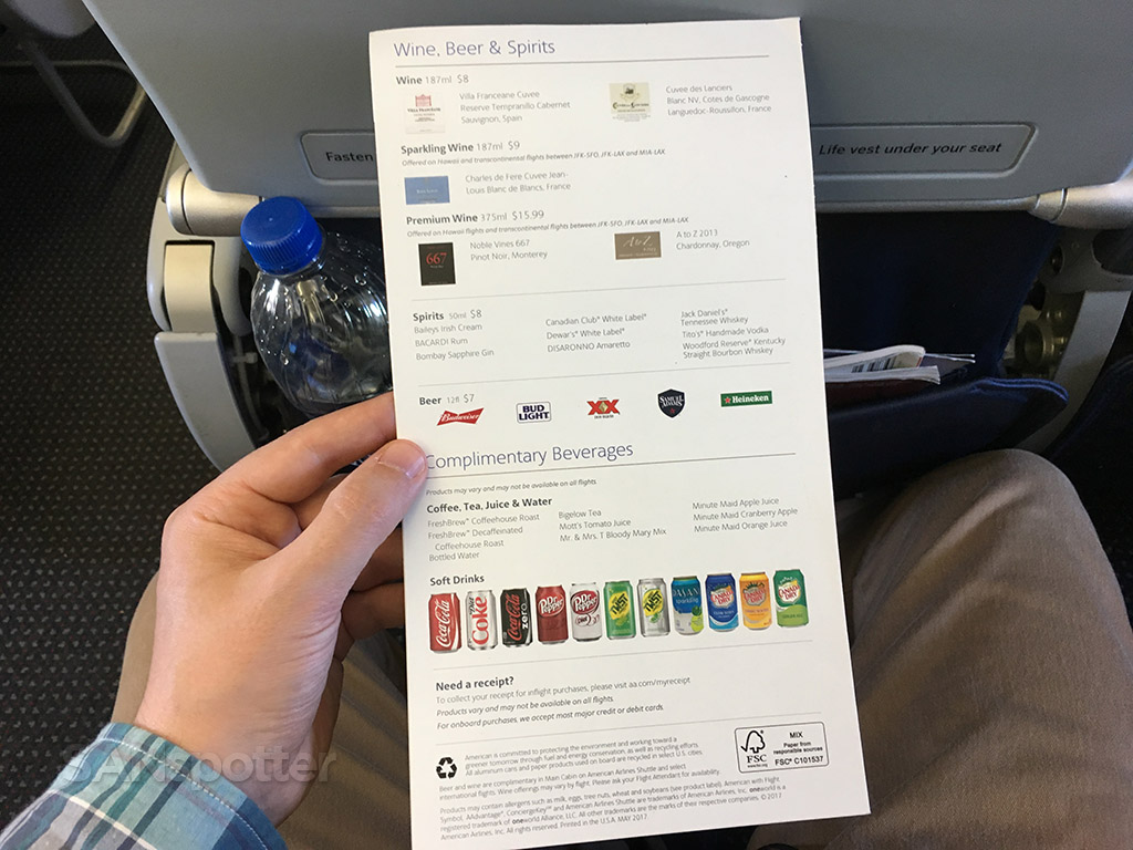 American airlines drink menu
