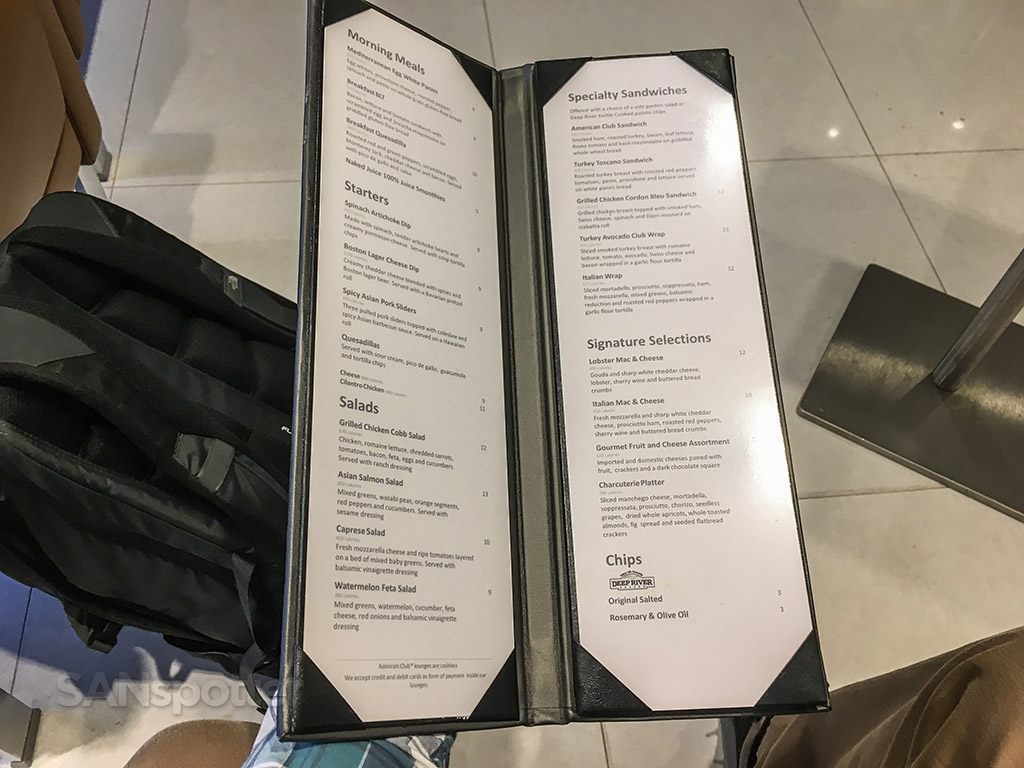 American Airlines admirals club menu