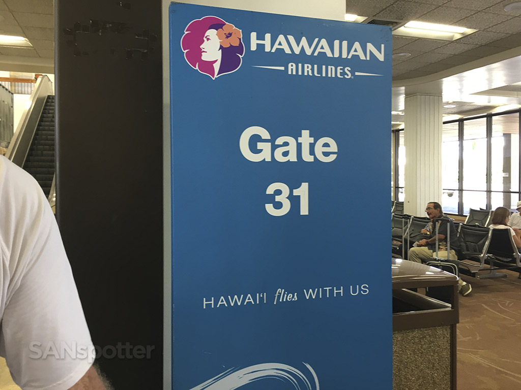 Hawaiian Airlines gate signage