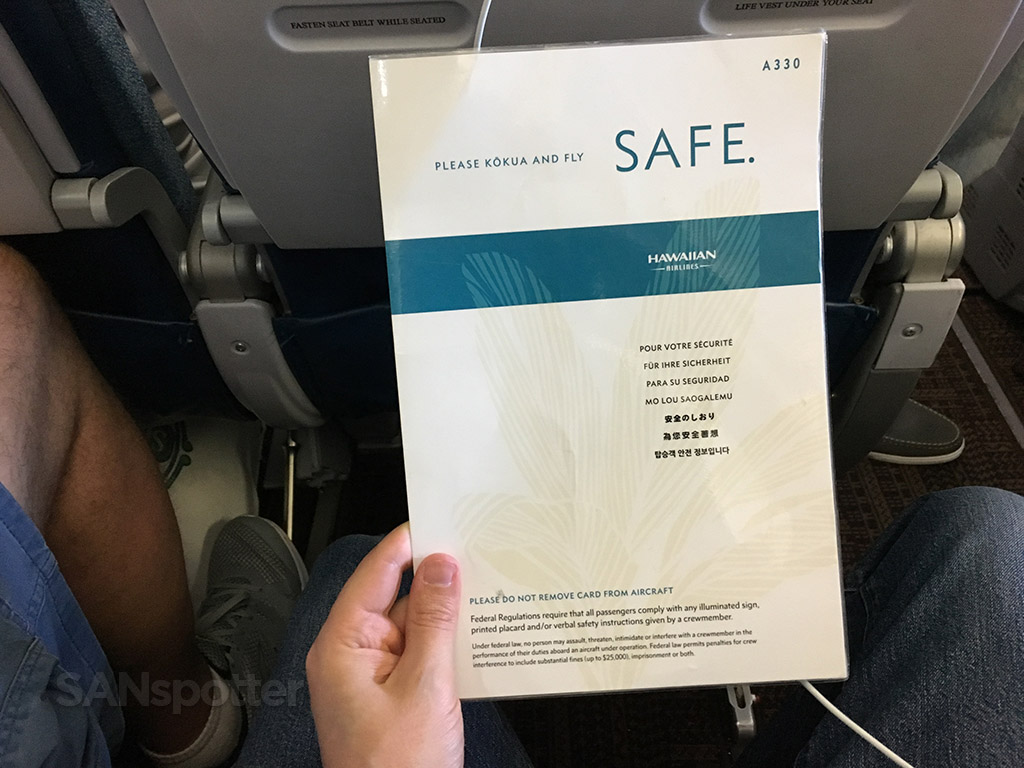 Hawaiian Airlines a330 safety card