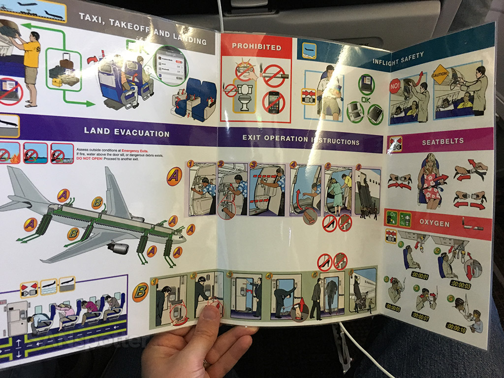Hawaiian Airlines a330 safety card interior